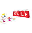Women Hurry Run to Sale Bag vector image vector image
