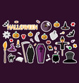 halloween stickers flat vector image