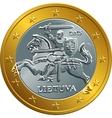 lithuanian euro gold money coin vector image