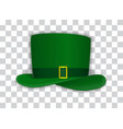 naturalistic green festive hat with golden yarn on vector image