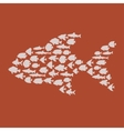 Simple plain style big fish mosaic vector image