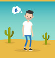 Thirsty bearded man dreaming about water flat vector image