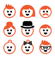 People with ginger hair icons set vector image vector image