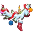 Decorated christmas fir branch under snow vector image