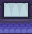 cinema hall with huge screen and comfortable seats vector image