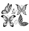 Collection black and white butterflies vector image