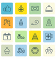 set of 16 celebration icons includes birthday vector image