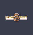 Paper sticker on stylish background snake logo vector image