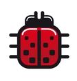 Cartoon ladybug glossy icon vector image