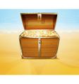 Treasure chest on a tropical beach vector image