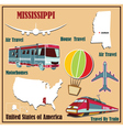 Flat map of Mississippi vector image vector image