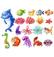 Sea creatures set vector image