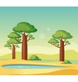 Oasis With Baobabs vector image