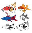 carp goldfish siamese fighting fish set vector image