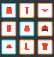 flat icons elegant headgear sundress lingerie vector image