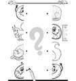 matching halves game coloring book vector image
