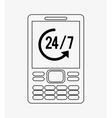 modern cellphone with 24 7 service icon image vector image