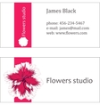 Pink floral design horizontal business card vector image
