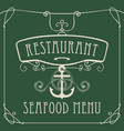 Seafood restaurant menu with anchor and rope vector image