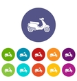 Vespa scooter set icons vector image