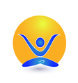 Yoga and sun logo vector image vector image