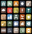 Farming flat icons with long shadow vector image
