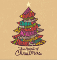 Handwritten Christmas Card Word Cloud tree design vector image vector image