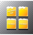 Christmas orange glossy buttons set vector image
