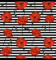 seamless pattern with poppy flowers and stripes vector image