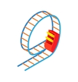 Swing roller coaster icon cartoon style vector image
