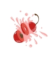 Cherry Cut In The Air Splashing The Juice vector image