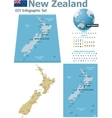 New Zealand maps with markers vector image vector image
