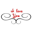 Calligraphic header with I love you text vector image