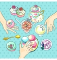 champagne and sweets vector image