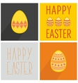 Flat easter egg set with wishes with long shadow vector image