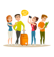 Tourists character design set young people vector image