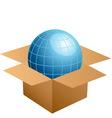 globe in cardboard box vector image