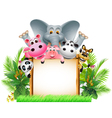 funny animal cartoon with board vector image vector image