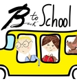 Kids riding on school bus Handwritten lettering vector image