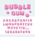 bubble gum font design sweet abc letters and vector image