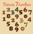 chocolate donuts numbers vector image