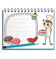 A notebook with a drawing of a chef and foods vector image vector image