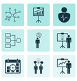 set of 9 authority icons includes conversation vector image