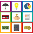 flat exchequer set of document bubl parasol and vector image
