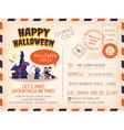 Happy Halloween party Vintage Postcard invitation vector image vector image