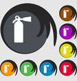 extinguisher icon sign Symbol on eight colored vector image