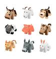 set of different cartoon isometric animals vector image