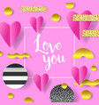 valentines day greeting card paper cut out hearts vector image