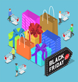 Isometric people shopping in black friday sale vector image