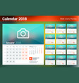 Calendar for 2018 year week starts on monday set vector image